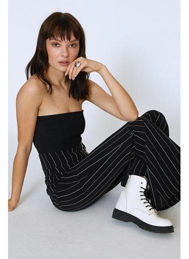 Quzu İspanyol Yüksek Bel Çizgili Pantolon Siyah